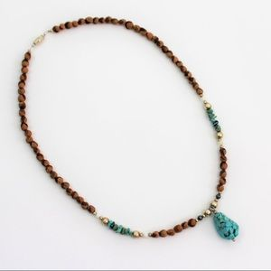 Native Jewelry - AUTHENTIC NAVAJO TURQUOISE JUNIPER BERRY NECKLACE